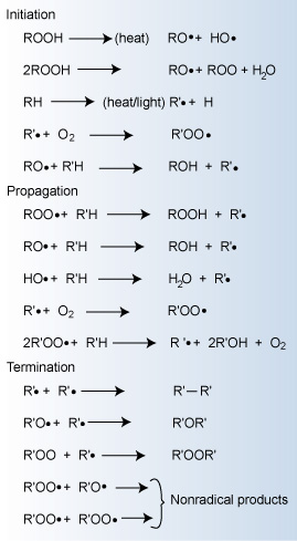 Major reactions occurring during polymer oxidation