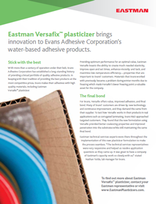 Eastman Versafix plasticizer brings innovation to a company of WB adhesive products