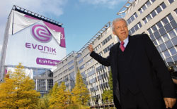 Dr. Werner Mller, Chairman of the Board of Evonik Industries AG . Evonik was christened in a spectacular event on September 12 in Essen. The name and logo on the headquarters building - visible for miles after the unveiling